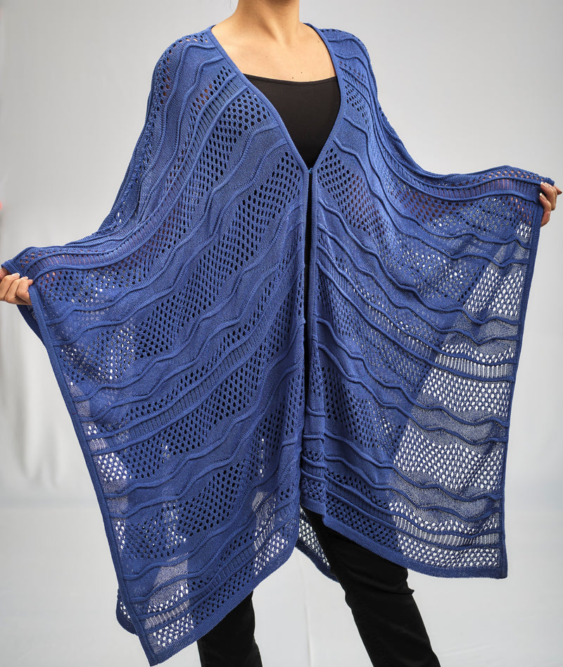 ONE SIZE BASIC AJOUR ROYAL BLUE PONCHO IN A GORGEOUS KNITWEAR PATTERN
