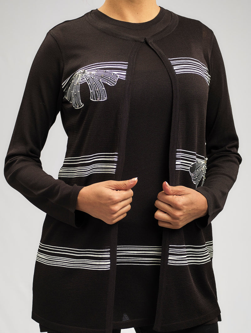 LUXURY CASHMERE FEEL KNITWEAR JACKET WITH STRIPES AND PAPPILON PRINT AND A DIAMOND CRYSTAL EMBELLISHMENT