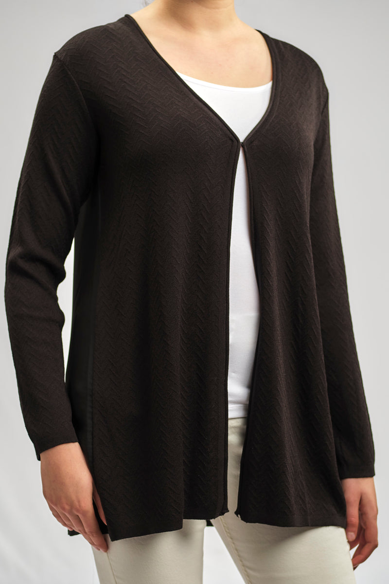 BASIC CASHMERE FEEL KNITWEAR JACKET WITH SILKY CREPE CHIFFON BACK