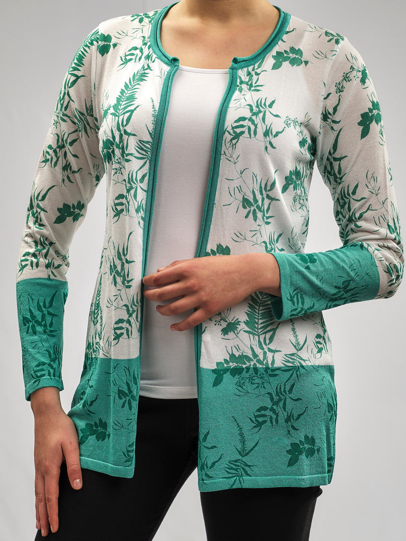 PRINTED CASHMERE FEEL KNITWEAR JACKET WITH A MINT TROPICAL PRINT