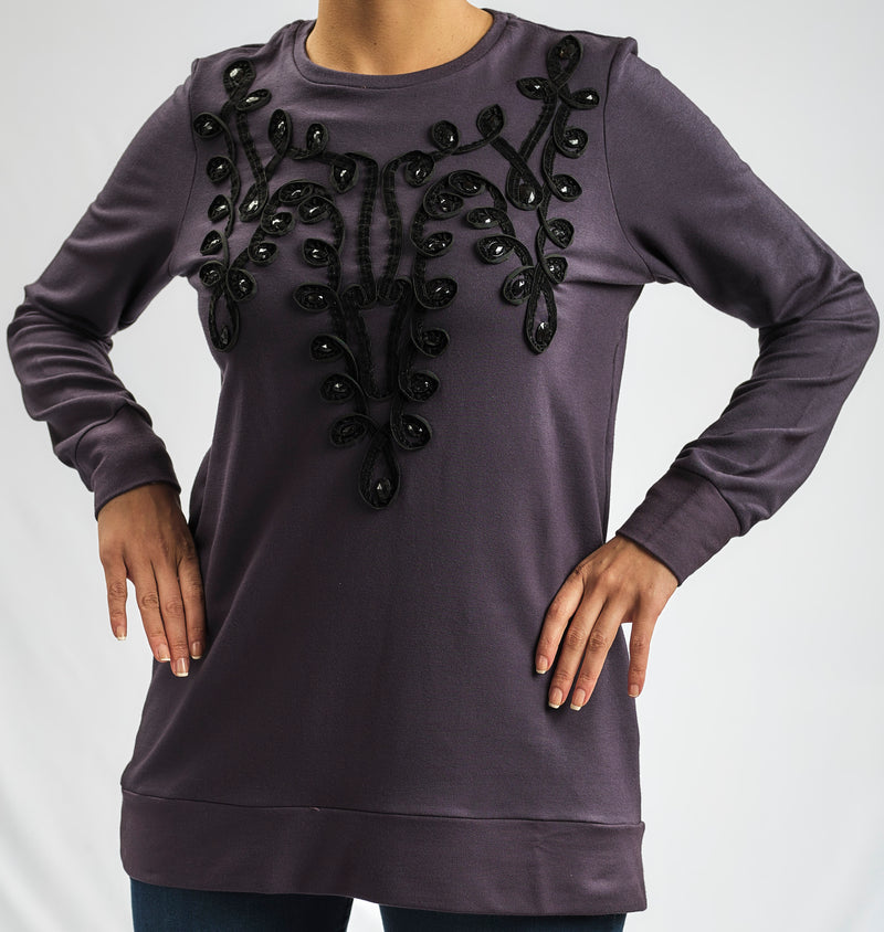 COTTON MILTON BLOUSE WITH ARABESQUE EMBROIDERED PATTERN