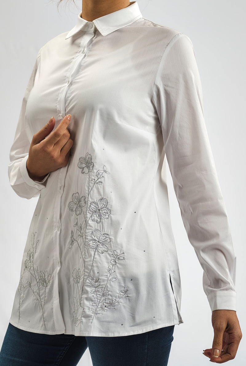 COTTON POPLIN WITH FLORAL SILVER LUREX EMBROIDERY