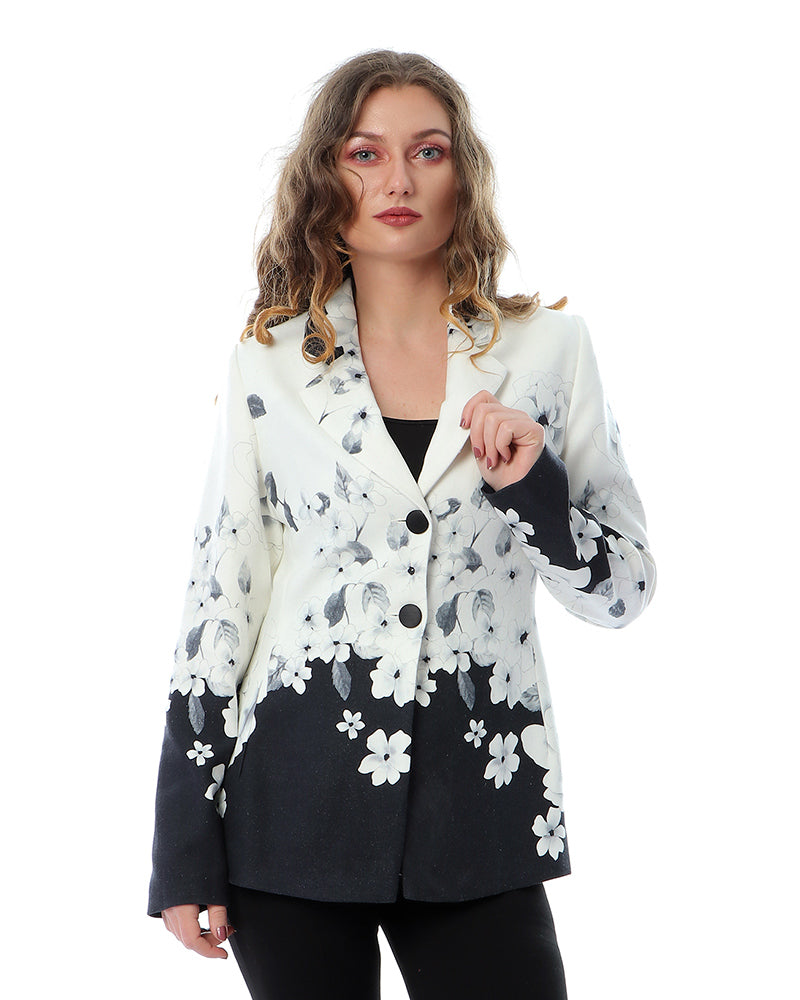 LINEN TAILLURE JACKET IN FLORAL SUNFLOWER PRINT