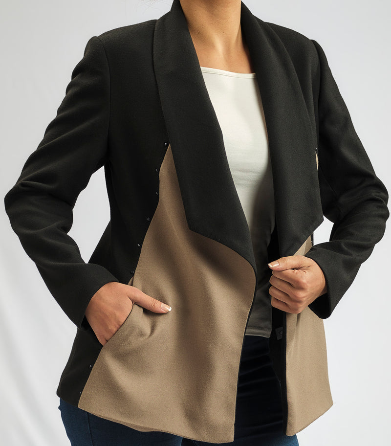 LIMITED EDITION: CASHMERE FEEL LUXURY LONG JACKET WITH SILVER METALLIC STUD DETAIL