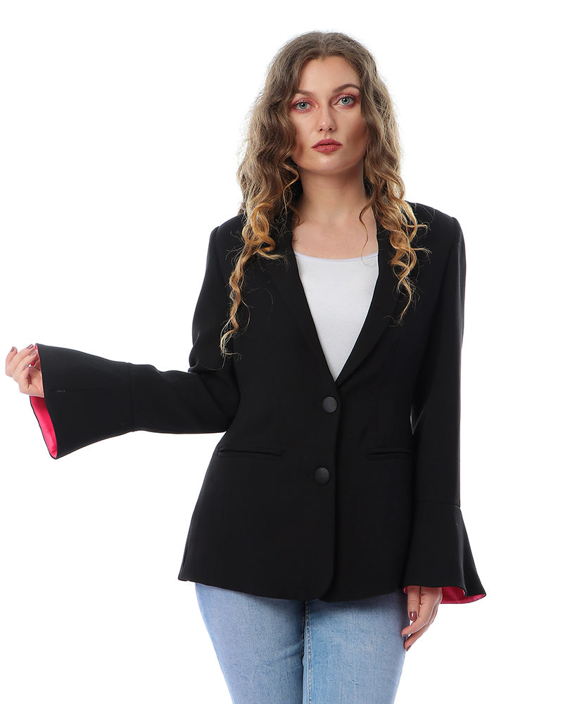 BASIC CREPE TAILLURE JACKET WITH BELL SHAPE SLEEVE AND FUSCHIA LINING
