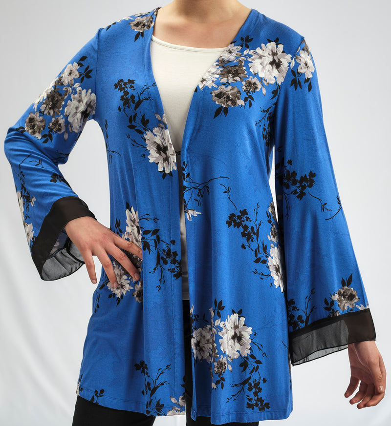 MODAL JACKET IN ROMANTIC BLUE FLORAL PRINT AND CHIFFON TRIM DETAIL ON THE SLEEVES