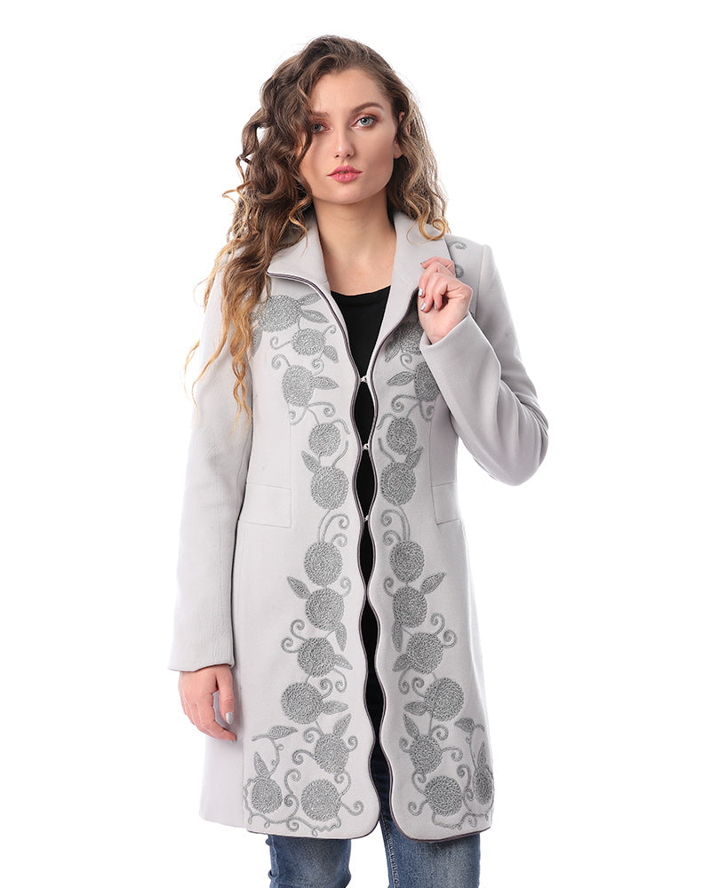 CASHMERE FEEL COAT WITH TONE TO TONE EMBROIDERY