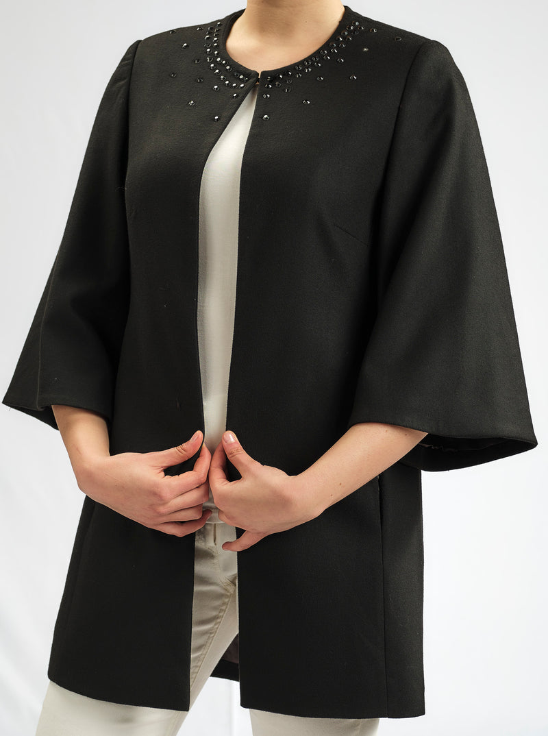 LIMITED EDITION: LUXURY CASHMERE FEEL KIMONO JACKET WITH BLACK STONES AROUND