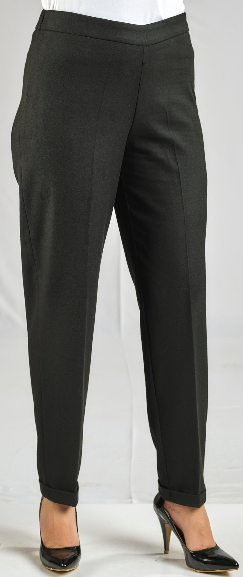 CASHMERE FEEL BASIC PANTS WITH ELASTIC WAIST FOR EXTRA COMFORT