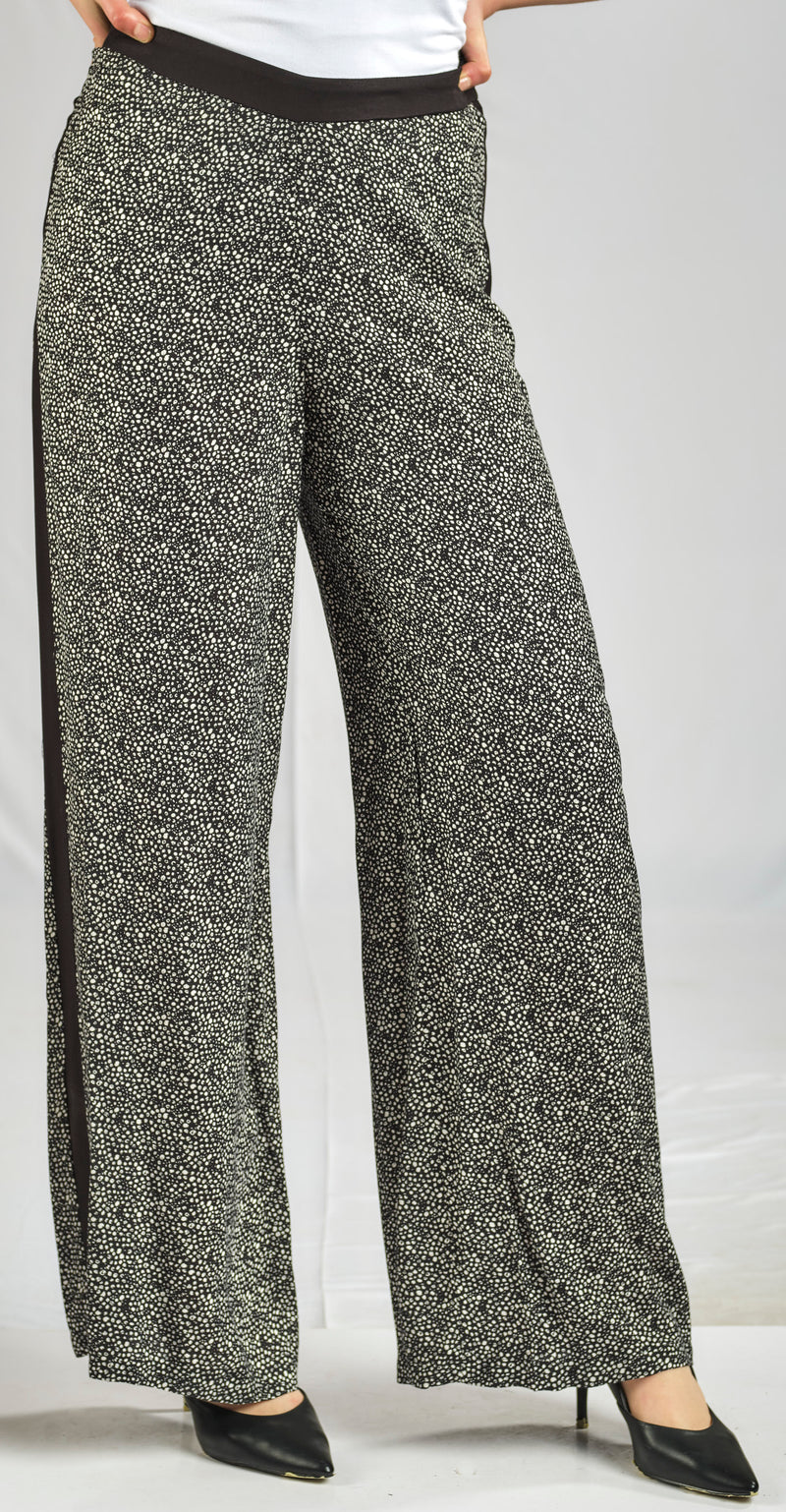 CREPE CHIFFON PRINTED PANTS WITH ELASTIC WAIST FOR EXTRA COMFORT