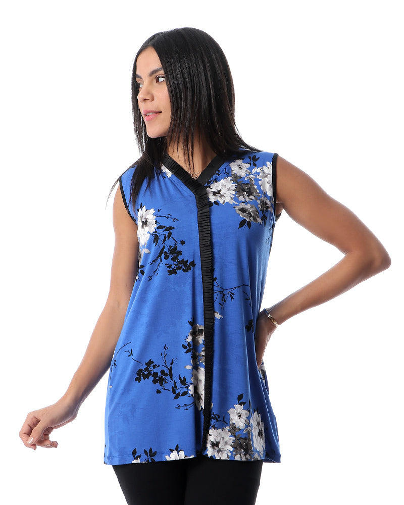 MODAL TOP IN ROMANTIC BLUE FLORAL PRINT
