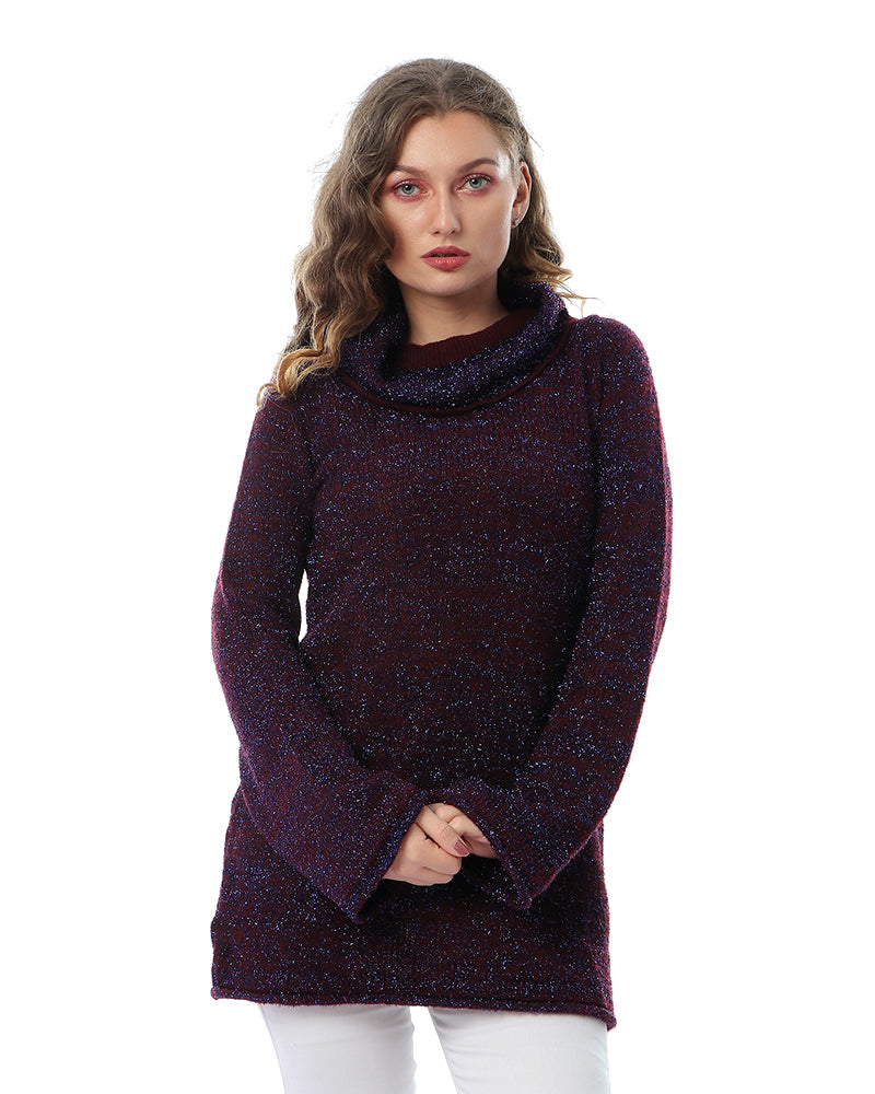 KNITWEAR BLOUSE IN BURGUNDY ALONG WITH SHIMMERING BRIGHT LAVENDER LUREX YARN - MADE FROM EXTRA SOFT MOHAIR YARN