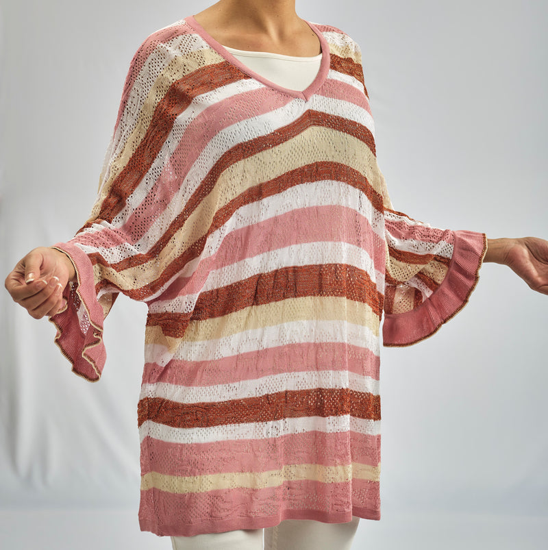 KIMONO SHAPE OVERSIZED AJOUR KNITWEAR BLOUSE WITH ROSE GRADIENT STRIPES