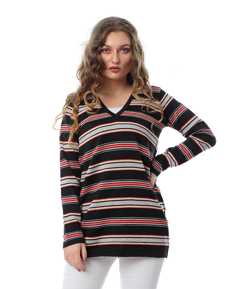 STRIPPED KNITWEAR COTTON  BLOUSE WITH