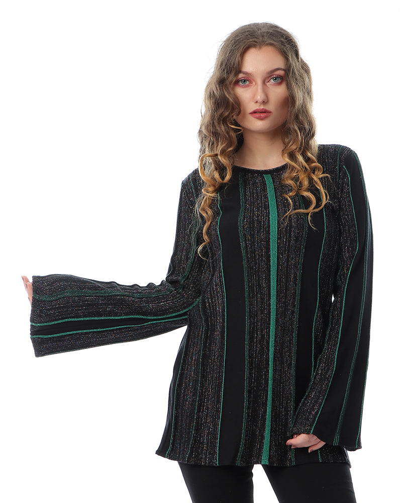 KNITWEAR COTTON BLOUSE WITH SHINY LUREX YARN AND EMERALD GREEN STRIPES