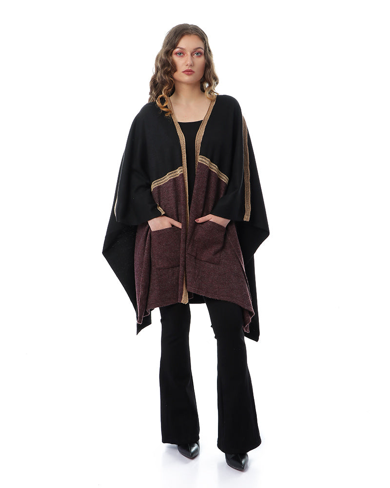 FREE SIZE PONCHO WITH SOFT NATURAL MOHAIR YARN WITH GOLD CROCHET TRIMS