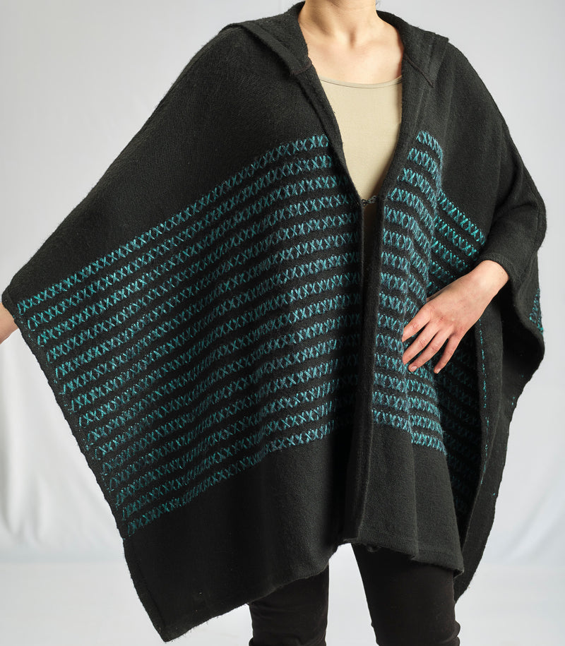 FREE SIZE PONCHO  ROYAL EMERALD  WITH SOFT NATURAL MOHAIR YARN
