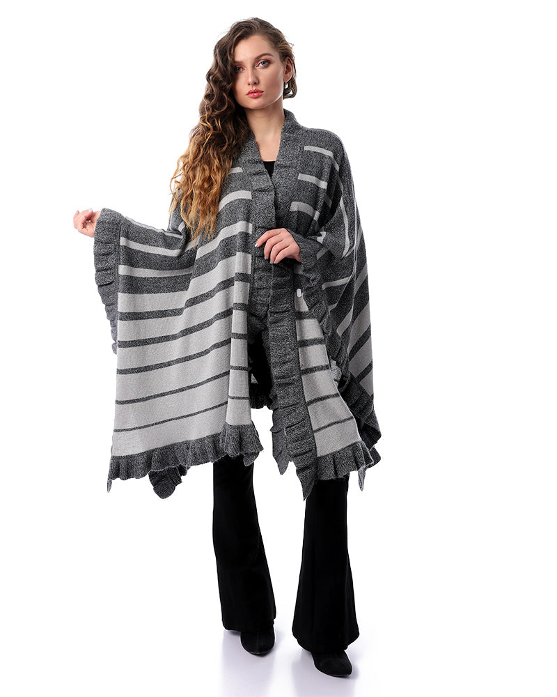 FREE SIZE LUXURY PONCHO IN SHINY SILVER LUREX YARN MADE FROM SOFT NATURAL MOHAIR YARN