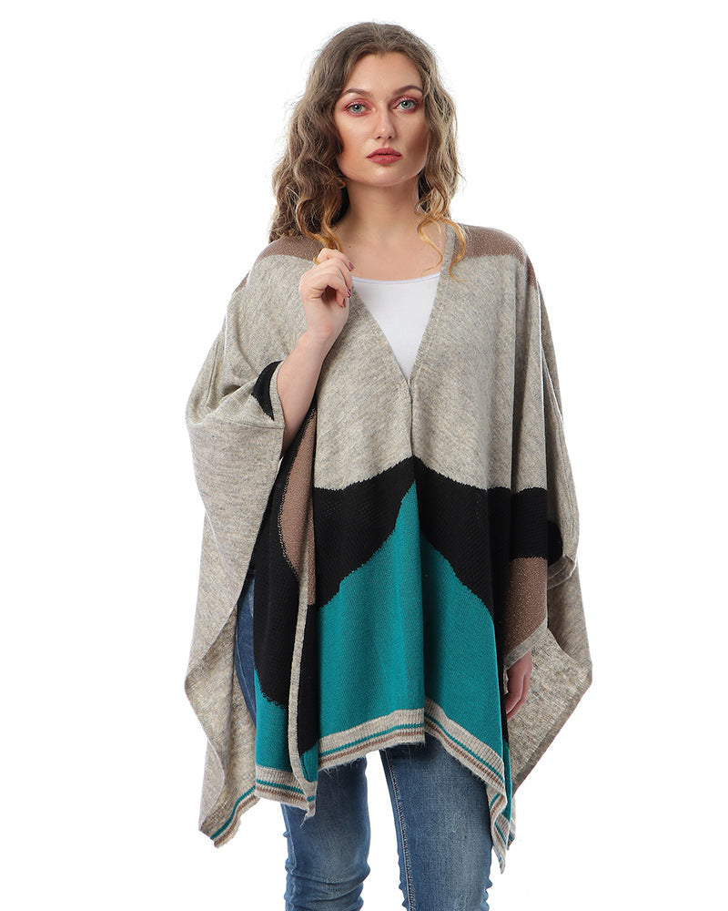 FREE SIZE STRIPPED PONCHO MADE FROM SOFT NATURAL MOHAIR YARN