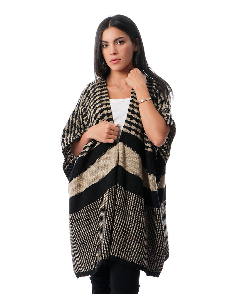 FREE SIZE STRIPPED PONCHO IN YARN MADE FROM SOFT NATURAL MOHAIR YARN
