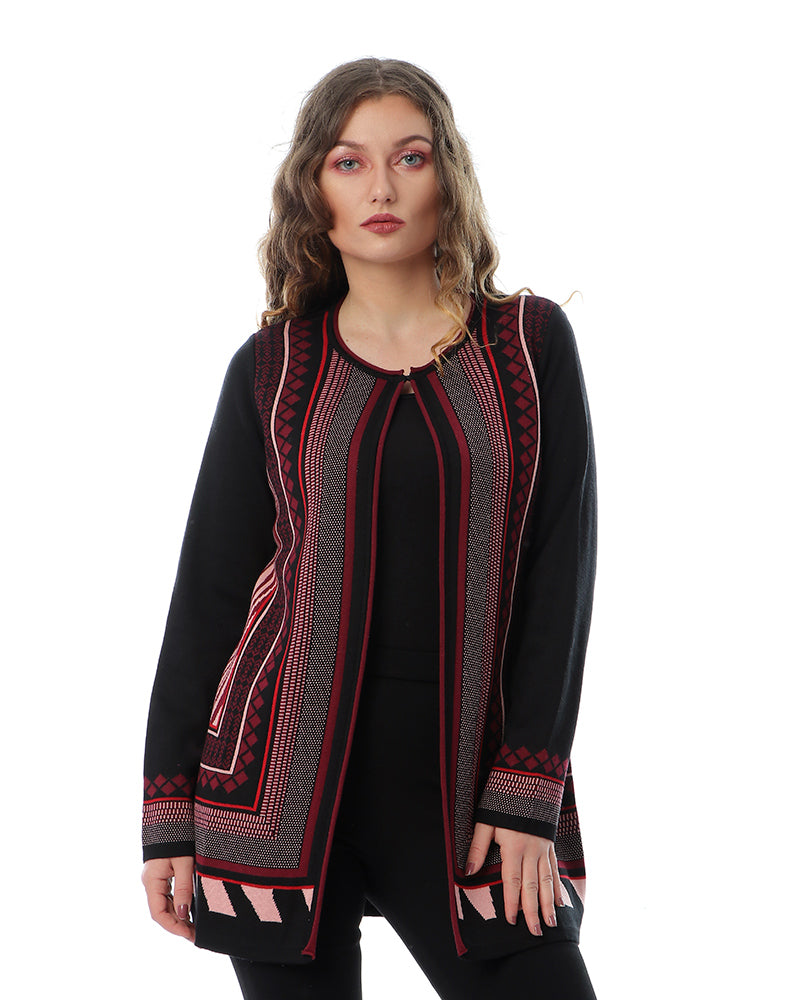 KNITWEAR TWINSET JACKET IN BURGUNDY GEOMETRIC PATTERN  WITH MATCHING TOP