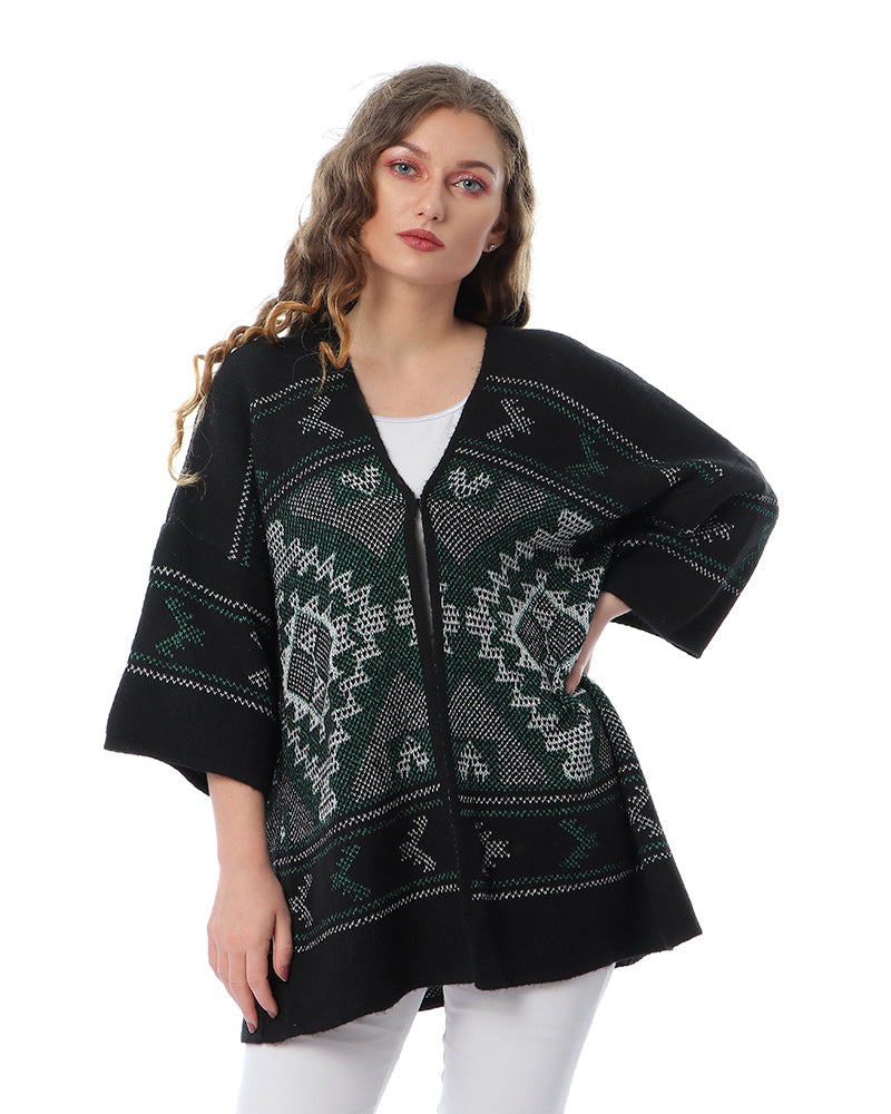 KNITWEAR KIMONO OVERSIZED JACKET WITH ORIENTAL PATTERN