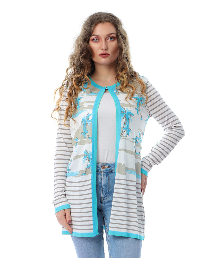ANGEL BLUE PRINTED KNITWEAR TWINSET JACKET WITH MATCHING TOP