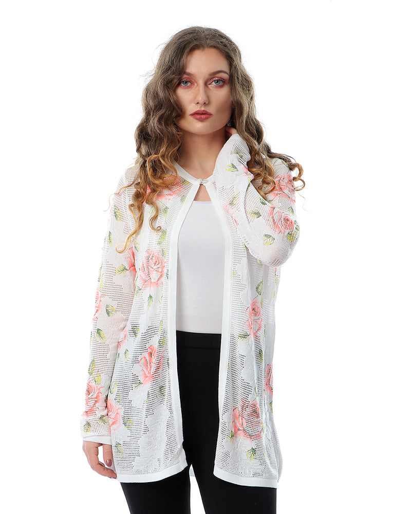 ROSE CLASSIC PRINTED KNITWEAR TWINSET JACKET WITH MATCHING TOP