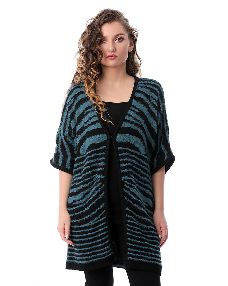 EMERALD GREEN STRIPPED  KIMONO OVERSIZED JACKET WITH TIGER PRINT PATTERN