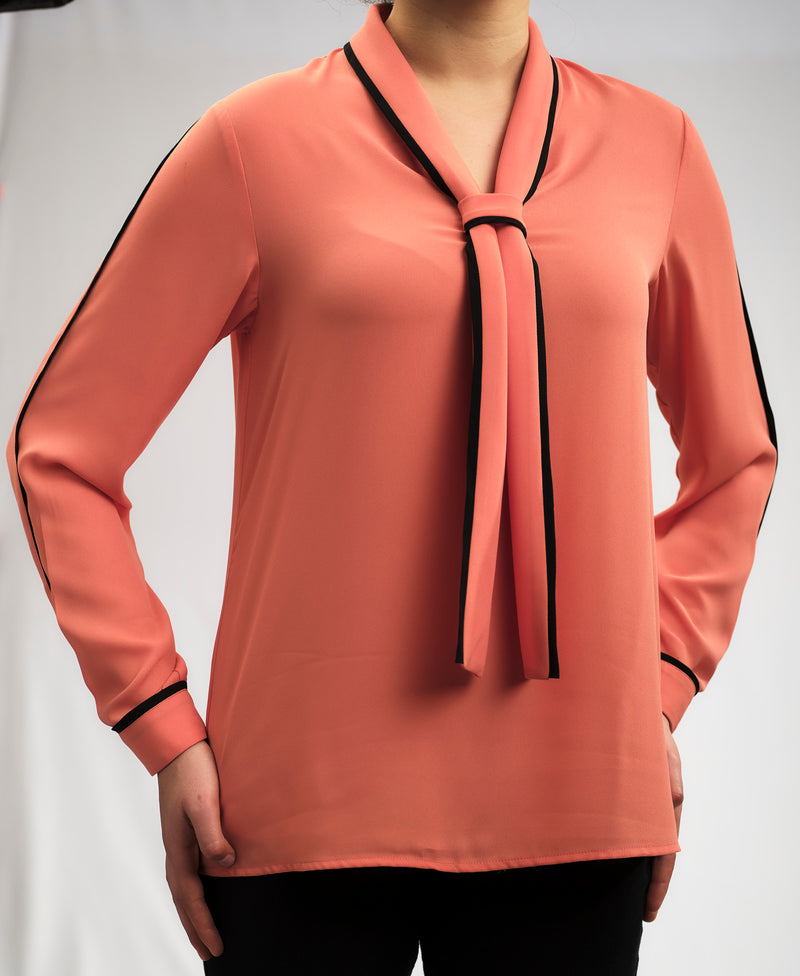 CREPE CHIFFON BLOUSE WITH BOW TIE