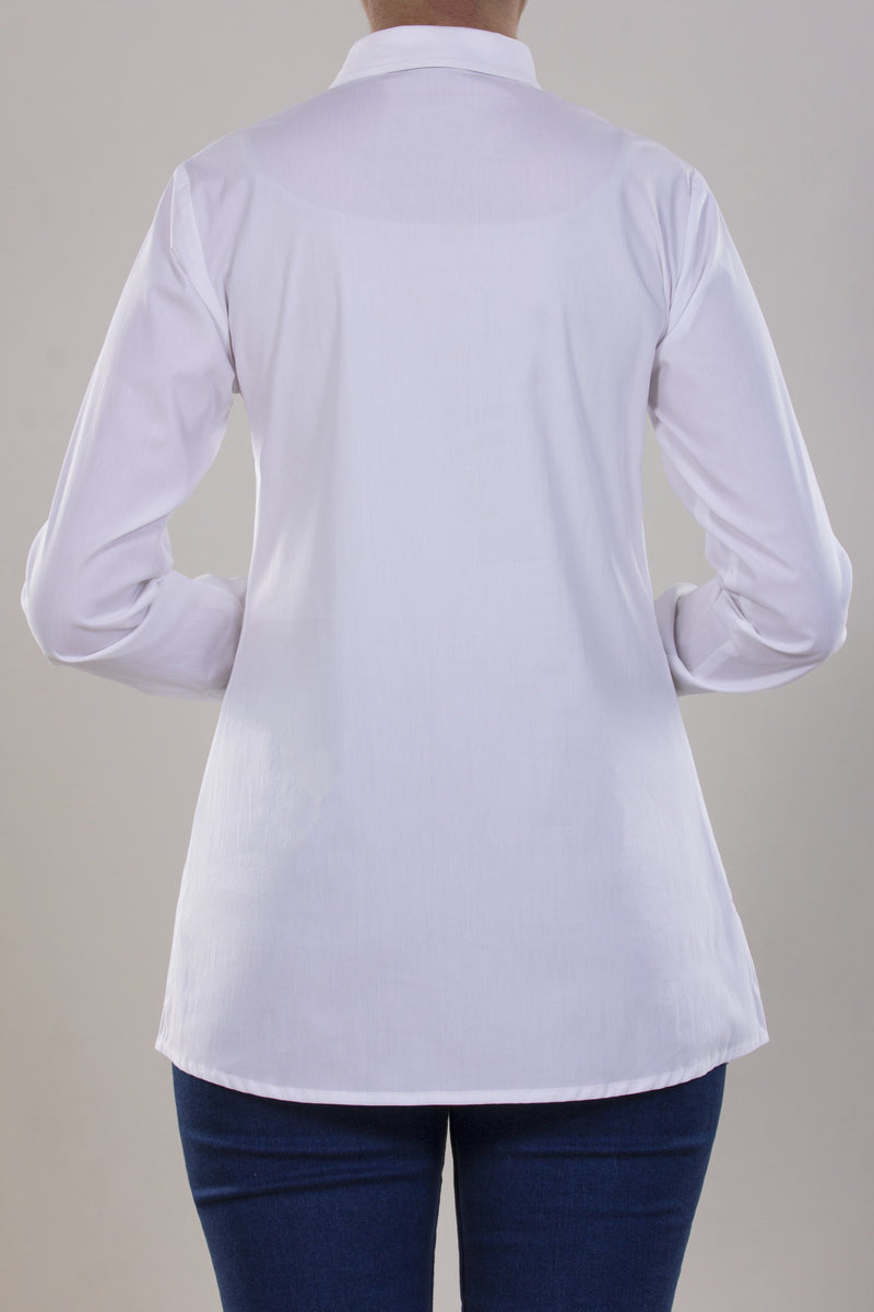 BASIC COTTON POPLIN SHIRT WITH HIDDEN PLACKET