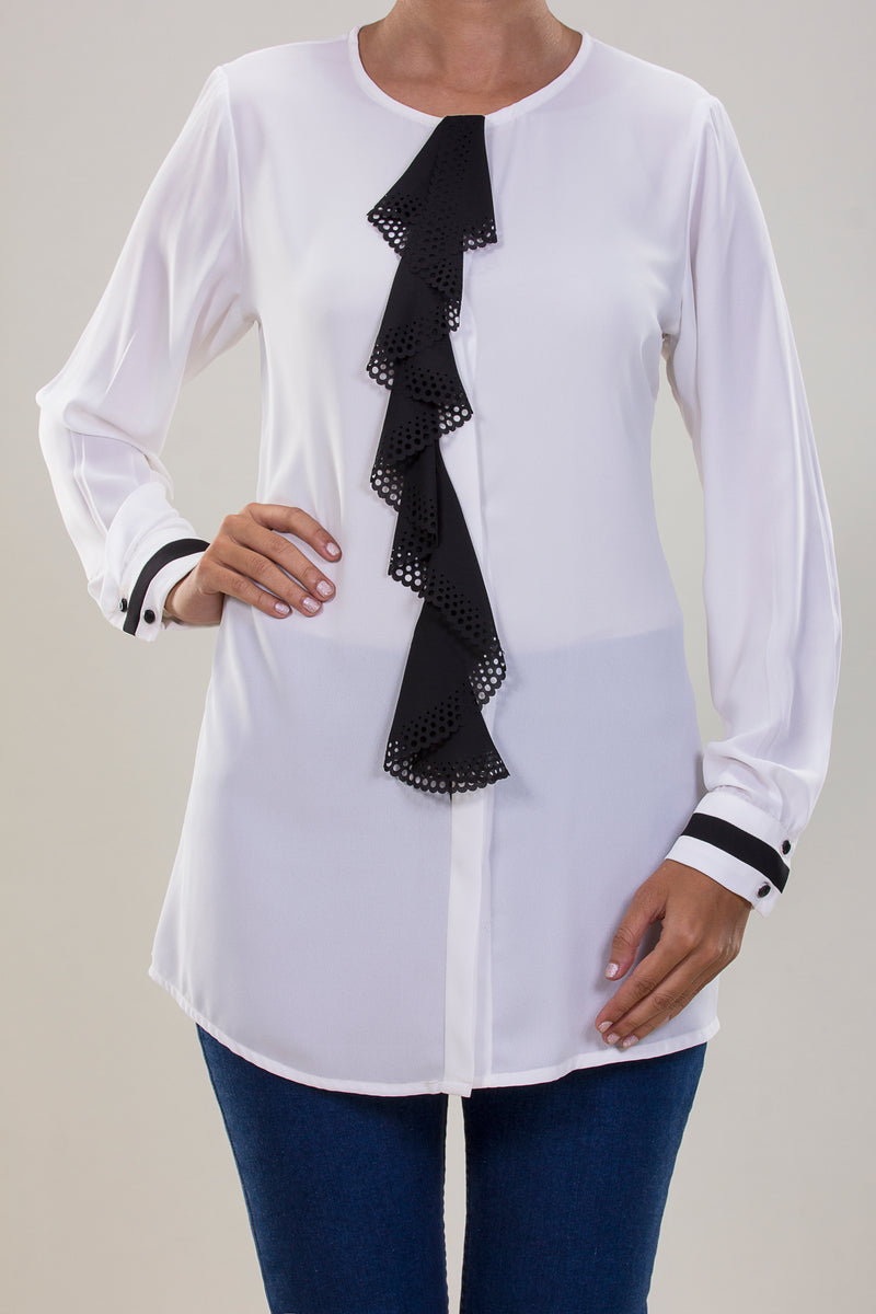 CREPE CHIFFON BLOUSE WITH RUFFLES