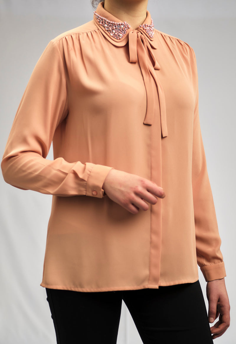 LIMITED EDITION: CREPE CHIFFON SHIRT WITH A LUXURY PEARL COLLAR