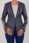 CASHMERE FEEL JACKET WITH BLACK CRYSTAL EBELISHMENT
