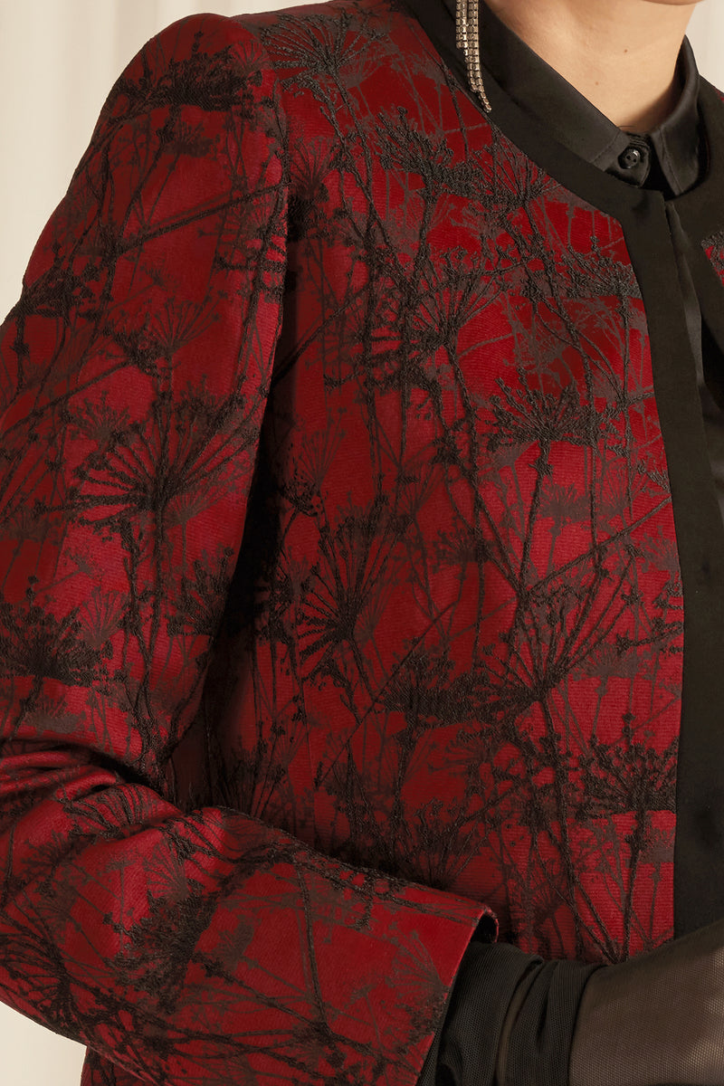 LIMITED EDITION: LUXURY JACKET IN ROYAL BURGUNDY AND ELEGANT BLACK EMBROIDERY