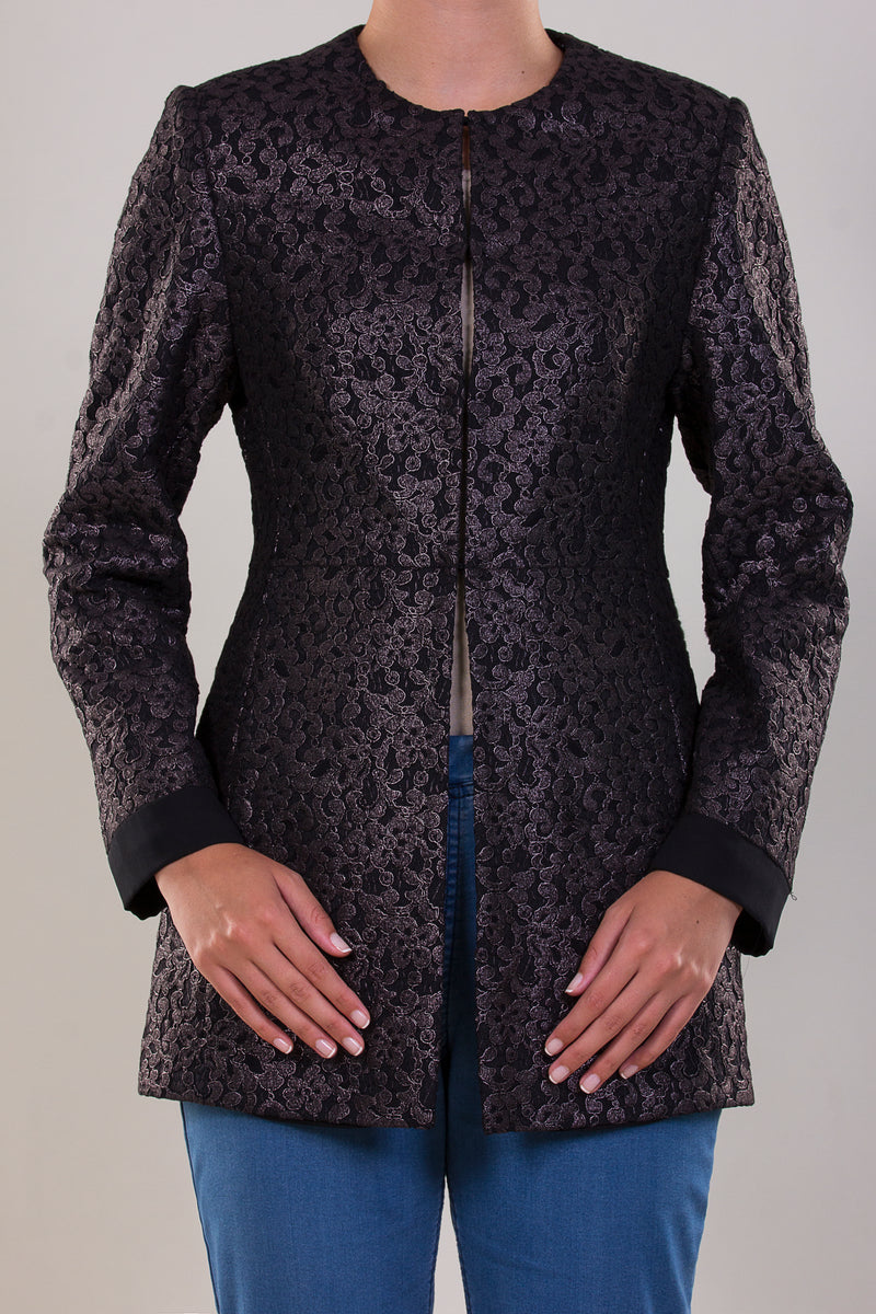 LIMITED EDITION: LUXURY LONG TAILLURE JACKET MADE IN RUSTIC SILVER AND A  ROMANTIC FLORAL LASER CUT PATTERN