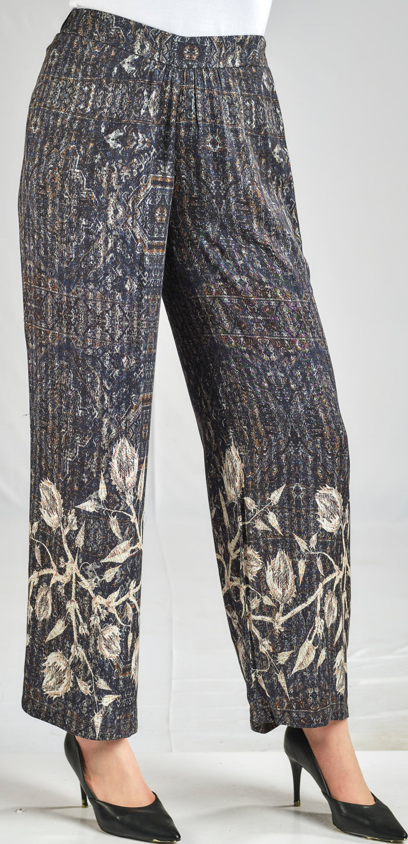 PRINTED 100% VISCOSE PANTS WITH FLORAL PANEL