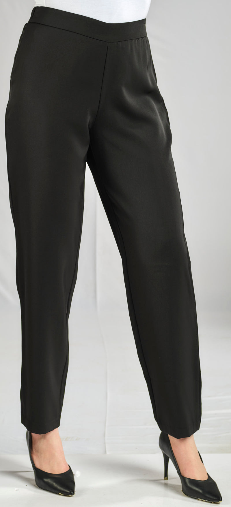BLACK TAILLURE PANTS WITH ELASTIC WAIST FOR EXTRA COMFORT