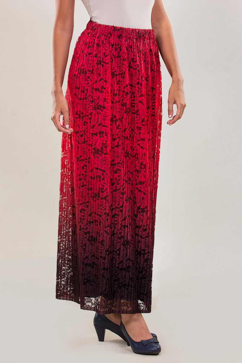 LIMITED EDITION: LOOSE FIT LACE PANTS IN GRADIENT SHADES OF BURGUNDY WITH ELASTIC WAIST