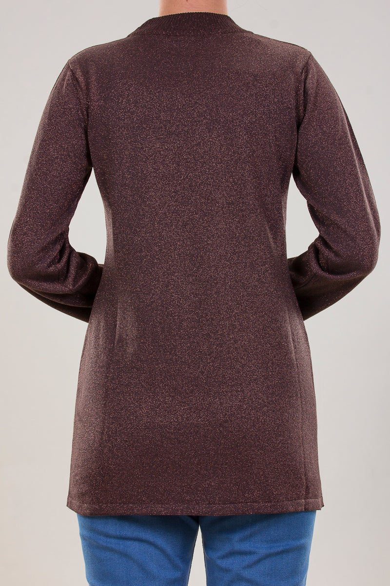 COTTON KNITWEAR BASIC BLOUSE WITH HALF COLLAR