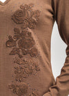2 IN 1 - COTTON AND WOOL BLENDED KNITWEAR BLOUSE WITH FLORAL EMBROIDERY ATTACHED TO COTTON POPLIN COLLAR AND CUFFS