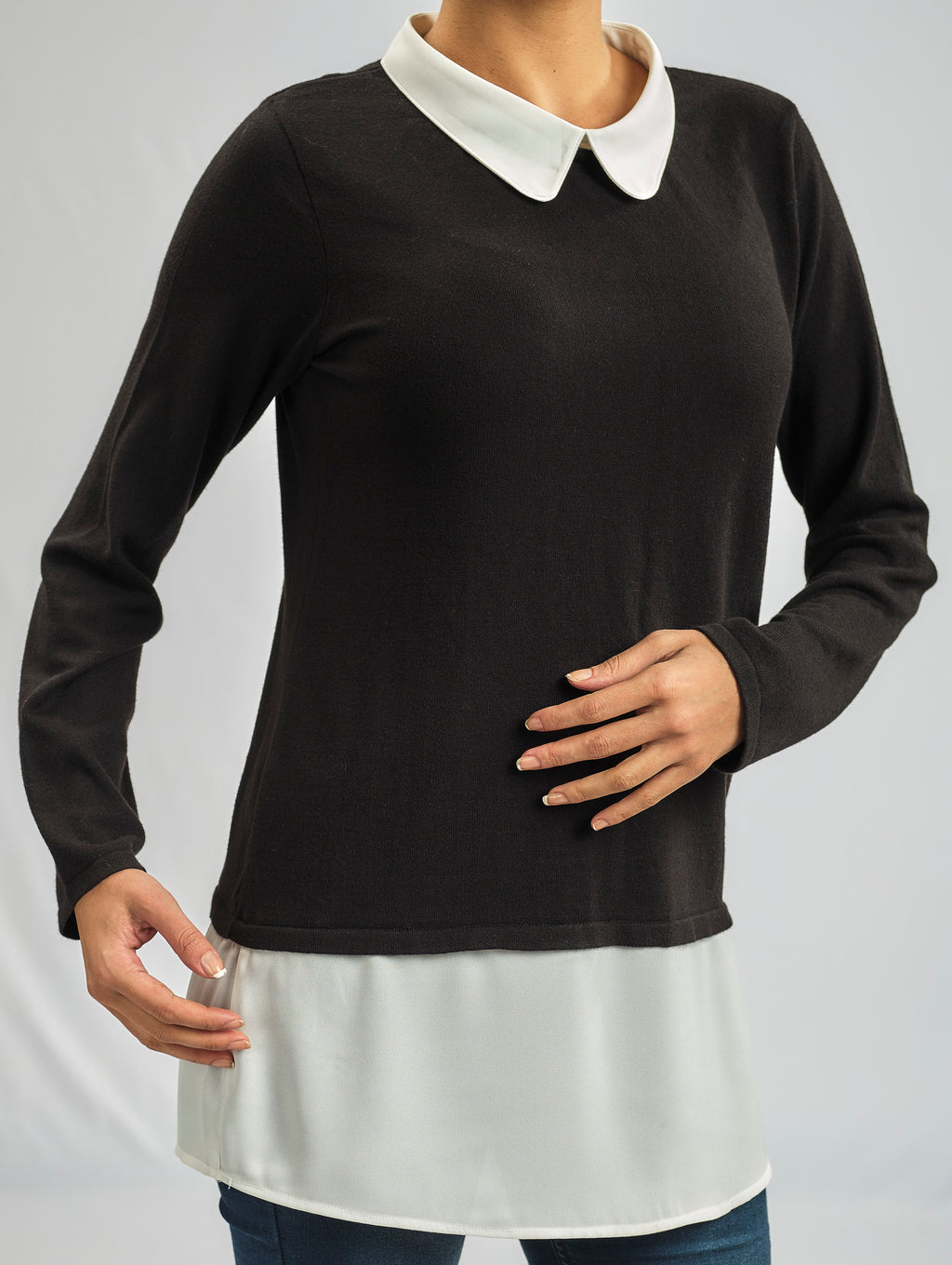 2 IN 1 - COTTON AND WOOL BLENDED KNITWEAR ATTACHED TO A SILKY CREPE CHIFFON LAYER