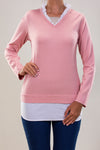 KNITWEAR BLOUSE WITH COTTON POPLIN COLLAR AND BOTTOM