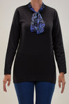 LUXRY KNITWEAR BLOUSE WITH PRINTED SATIN TIE