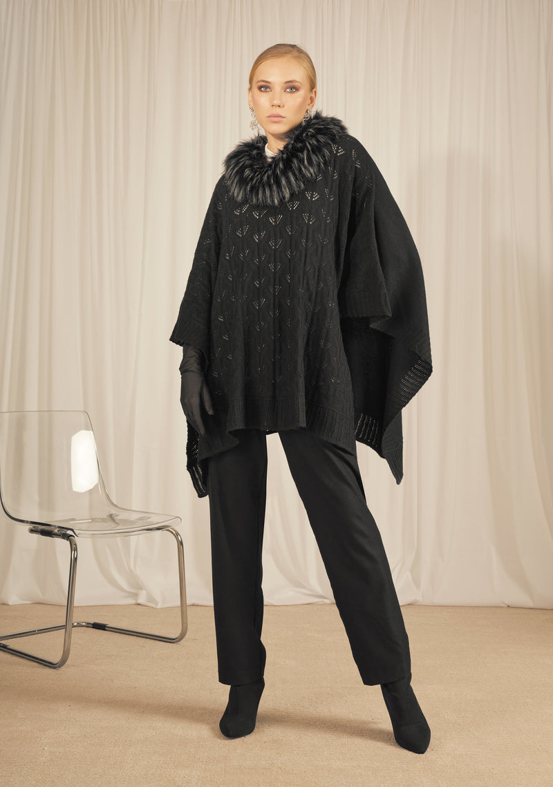 BLACK KNITWEAR PONCHO WITH A FAUX FUR RACCOON NECKLINE