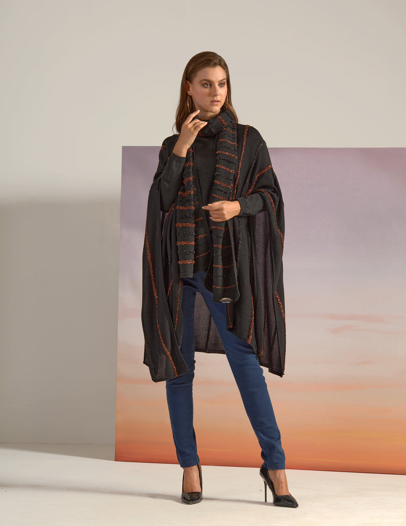 LIMITED EDITION: LUXURY KNITWEAR PONCHO WITH TONE TO TONE PIPPING IN BRONZE BROWN AND BLACK