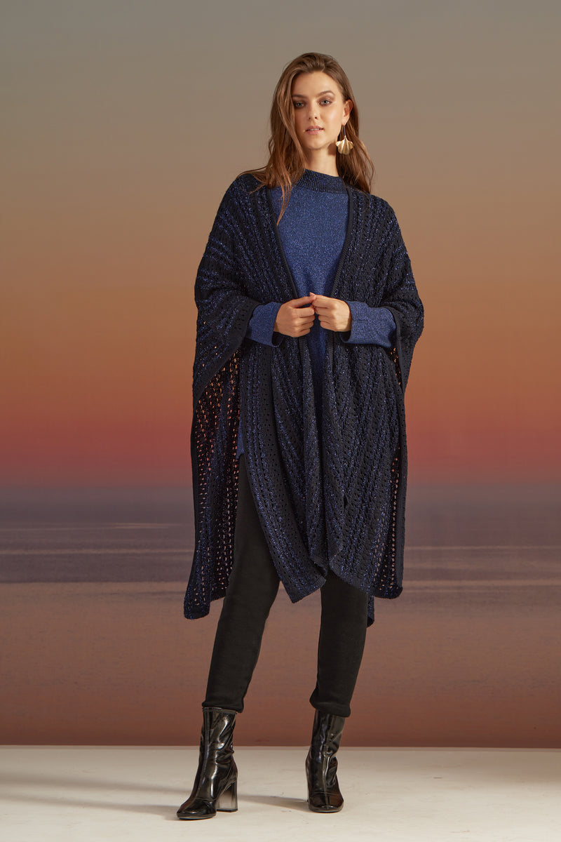 FREE SIZE COTTON KNITWEAR AJOUR WRAP/PONCHO  WITH TONE TO TONE SHINNY LUREX YARN