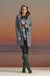 BASIC AND VERY SOFT BLUE GREY KNITWEAR JACKET WITH A HOODIE AND WIDE SLEEVES