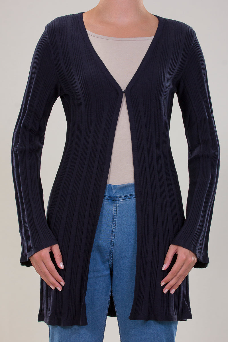 BASIC COTTON KNITWEAR JACKET IN A PLEATED FAN SHAPE