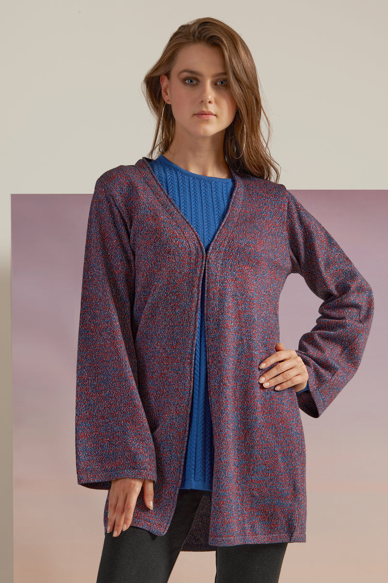KNITWEAR JACKET MADE OF NATURAL RAYON WITH COLOURS INSPIRED BY THE MAJESTIC NIGHT STARS